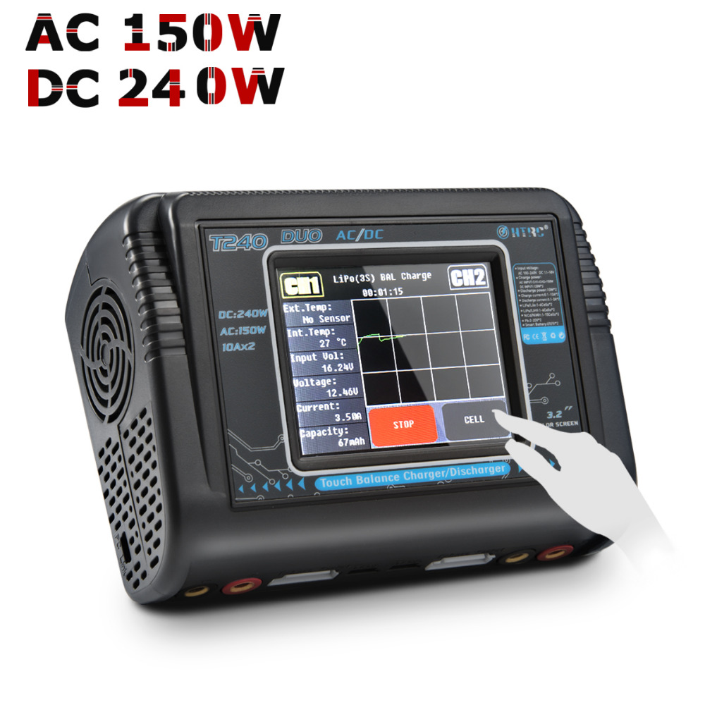 HTRC Touch T240 DUO AC 150W DC 240W Dual Channel 10A RC Balance Charger for LiPo LiHV LiFe Lilon NiCd NiMh PB Battery Discharger new arrival htrc c150 ac dc 150w 10a rc smart battery balance charger for lipo lihv life lilon nicd nimh pb battery discharger
