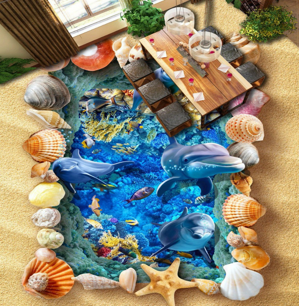 Free Shipping 3D Sea World Beach Shells Tropical Fish Living Room Bathroom kitchen office Floor wallpaper mural корм tetra tetramin xl flakes complete food for larger tropical fish крупные хлопья для больших тропических рыб 10л 769946