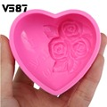 3D Silicone Chocolate Mould Heart Love Rose Flower Soap Mold Candle Polymer Clay Molds Crafts DIY Forms For Cheap Soap Base Tool