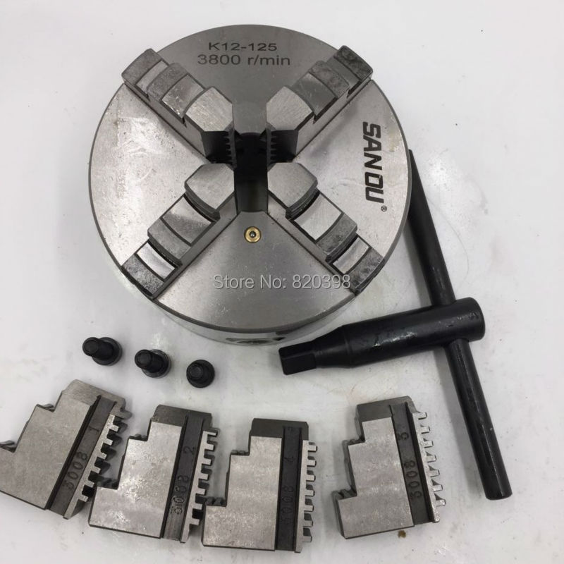 CNC 4 Jaw Self-Centering LATHE Chuck 5 K12-125 K12 125mm Four Jaws Hardened Steel for Lathe Drilling Milling Machine k12 130 four jaws self centering chucks 130mm for cnc machines tools lathe chuck