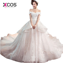 XCOS Champagne Ball Gown Bridal Wedding Dress with Sleeve