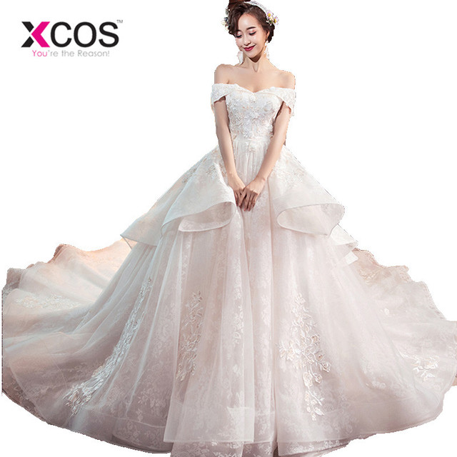 b01adcccf1 XCOS Champagne Ball Gown Bridal Dress Vintage Muslim Plus Size Lace Wedding  Dress Princess with Sleeve Ruffles Vestido de Noiva