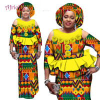 2019 African Skirt Sets for Women Dashiki Bazin Riche Patchwork 2 Pieces Sets Plus Size African Lady Traditional Clothing WY2544
