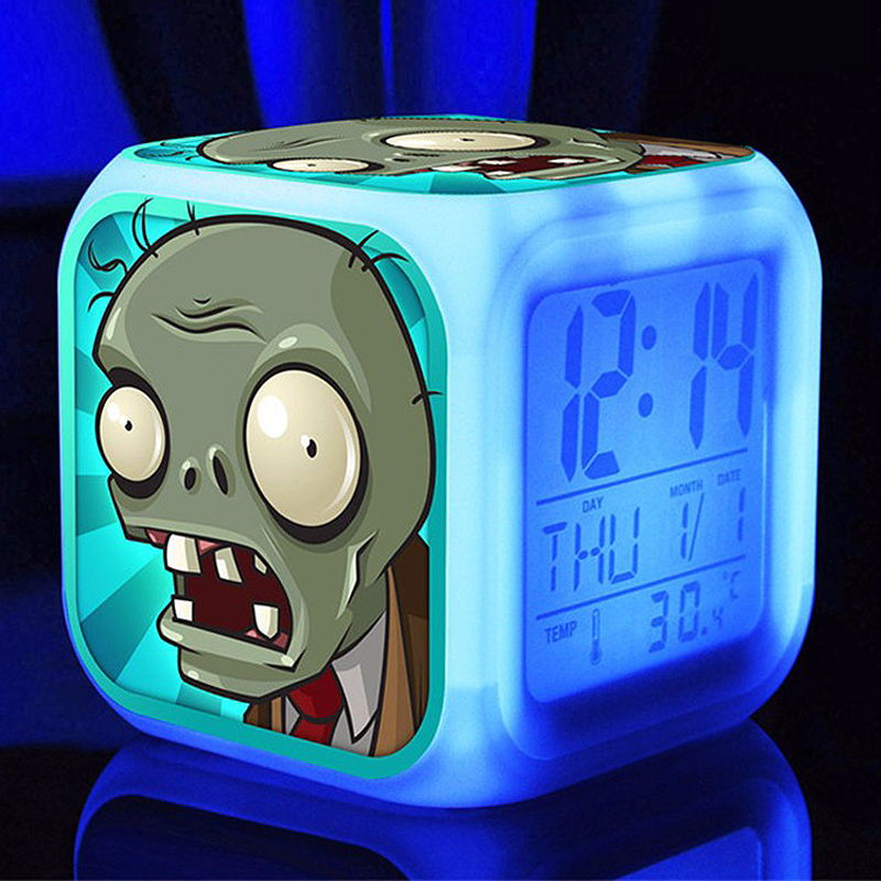 Hot Plants Plants Vs Zombies Despertadores, 3D Cartoon PVZ Led Despertadores Para habitación de niños Cambio de color Multifunción relojes de alarma