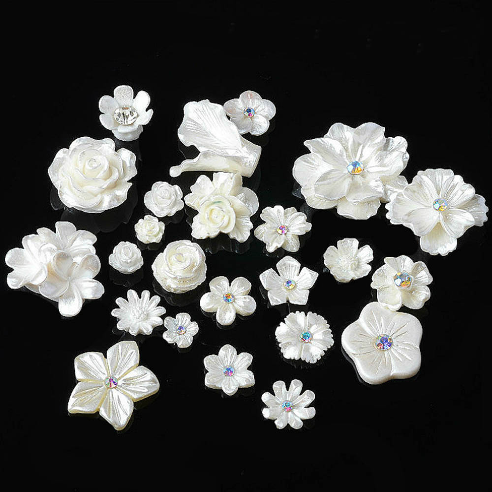 20pcs/lot Resin Flower Snap Button DIY Jewelry Accessories Metal Buttons For Decoration Wedding Bag Clothing Decorative Buttons