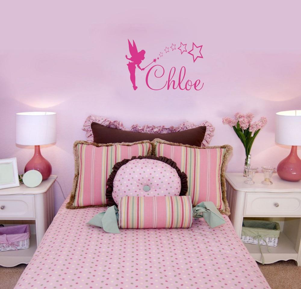 Fairy Fabric Wall Decal Tinker Bell Silhouette Velvet Sticker Kids Room Art