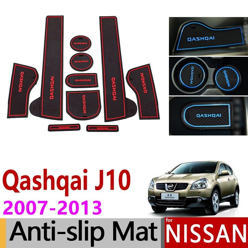 Anti-Slip J10 Esteiras Ranhura Portão Esteira do Copo de Borracha para Nissan Qashqai 2007-2013 Acessórios Adesivos 2007 2008 2009 2010 2011 2012 2013