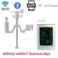 Солнечные Bluetooth гарнитура для метеорологическая станция Профессиональный Метеостанция WiFi беспроводной для дома и улицы с приложением