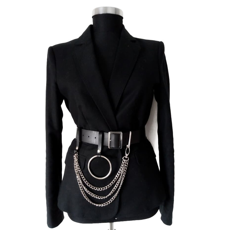 Fashion Women Black Leather Waist Belt Goth Multi Link Chains Big O Ring Female Waistband Casual Buckle Long Wide Cinturones