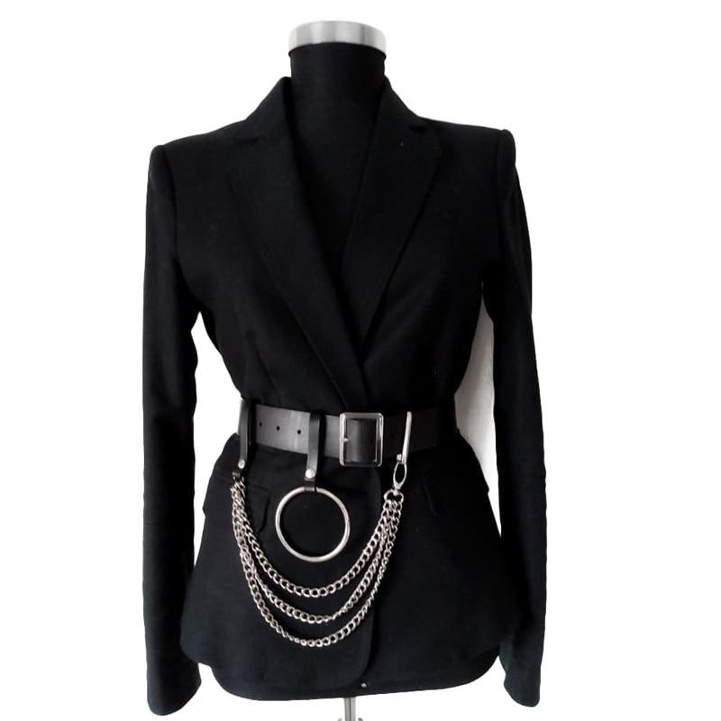 Fashion Women Black Leather Waist Belt Goth Multi Link Chains Big O Ring Female Waistband Casual Buckle Long Wide Cinturones