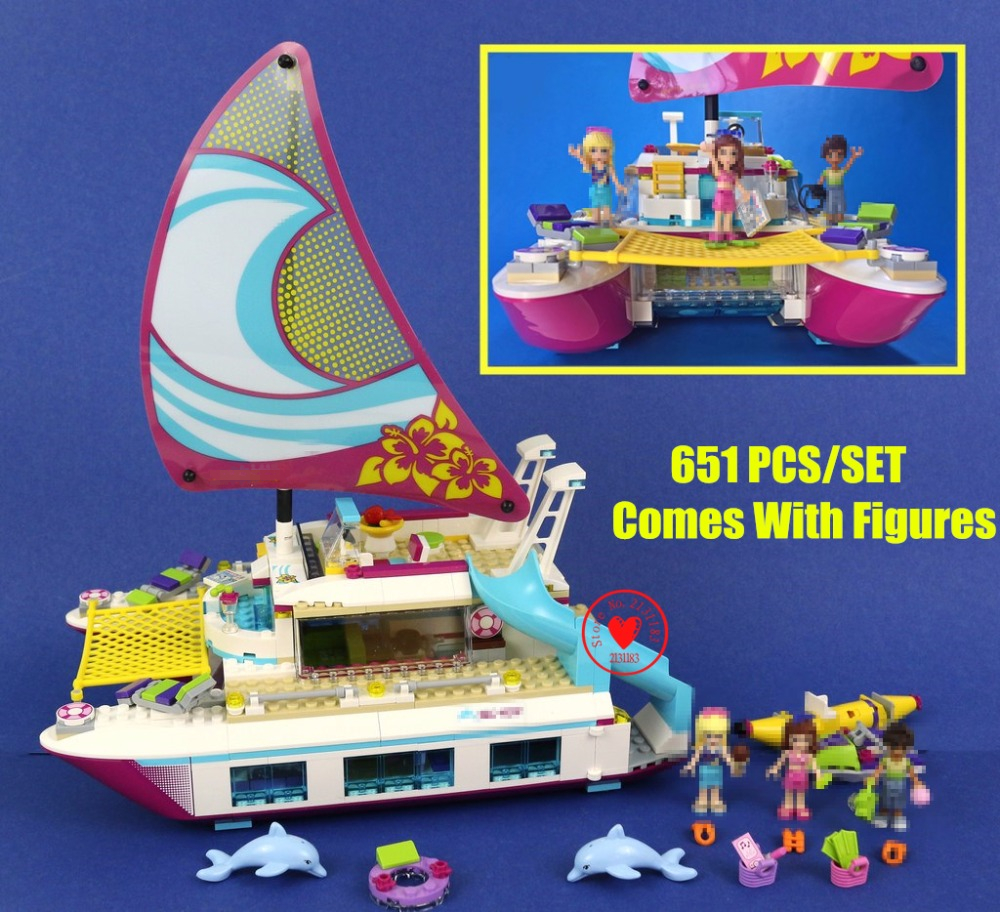 цены на NEW Friends Sunshine Catamaran Dolphins Olivia Stephanie fit legoings friends figures model Building Block bricks 41317 kid girl в интернет-магазинах