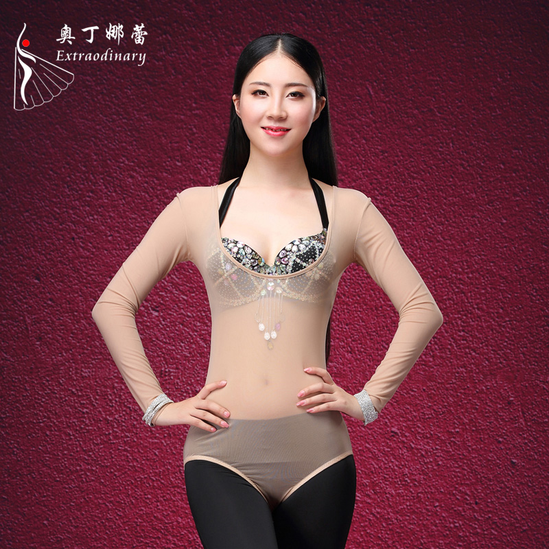 Women Belly Dance Costume Sleeveless Chest Support Bodysuit Bottoming Top