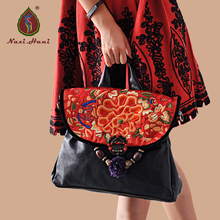 High quality Fashion black genuine leather Women banquet handbag Ethnic cow Leather Embroidery Messenger Shoulder bags