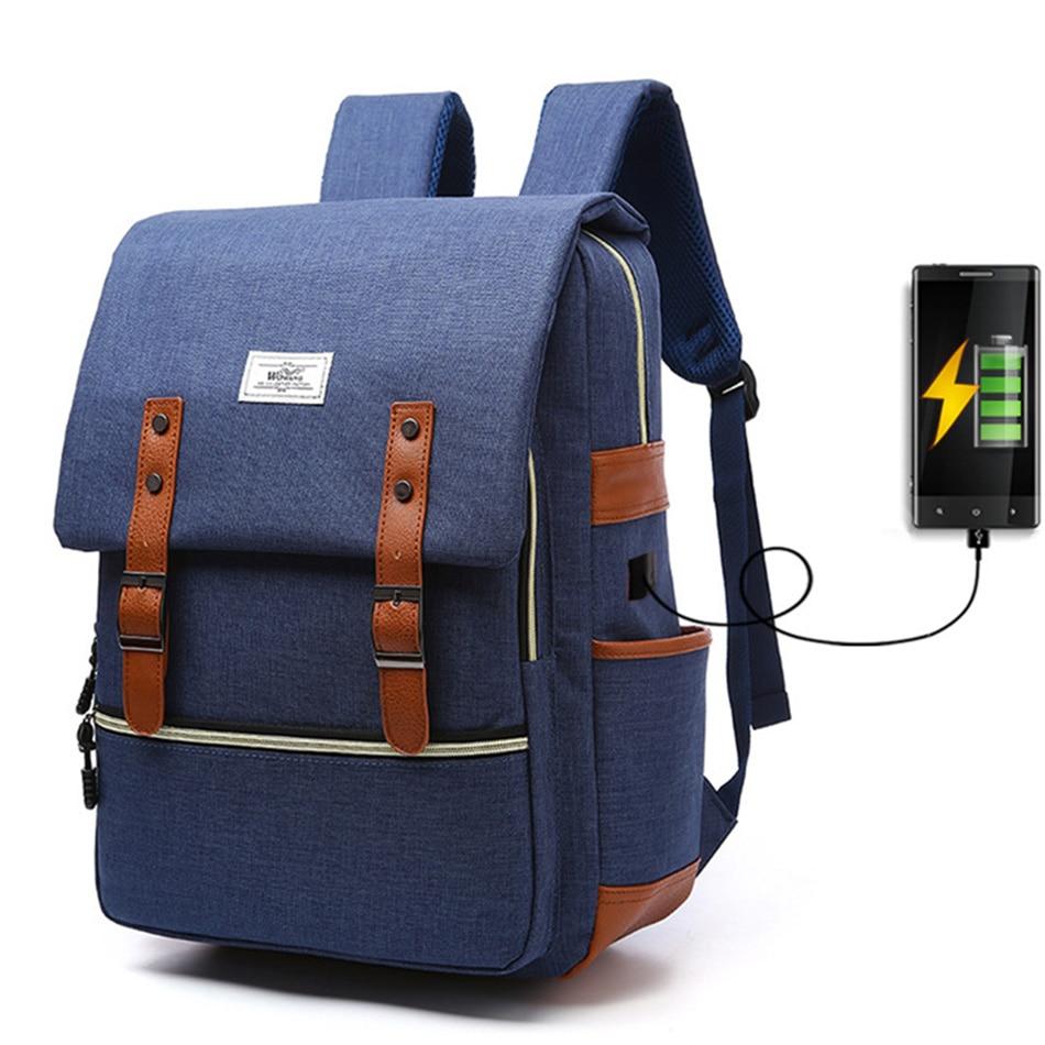 2018 Vintage Men Women Canvas Backpacks School Bags for Teenager Boys Girls Laptop Backpack with USB Charging Fashion Travel Bag (7)