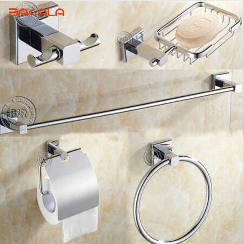 BAKALA 5 pcs set Round Stainless Steel Bathroom Accessories Set Soap dish Robe hook Paper Holder