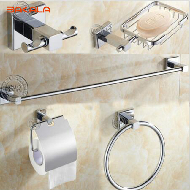 Bakala 5 Pcs Set Round Stainless Steel Bathroom Accessories Soap Dish Robe Hook Paper Holder Towel Bar