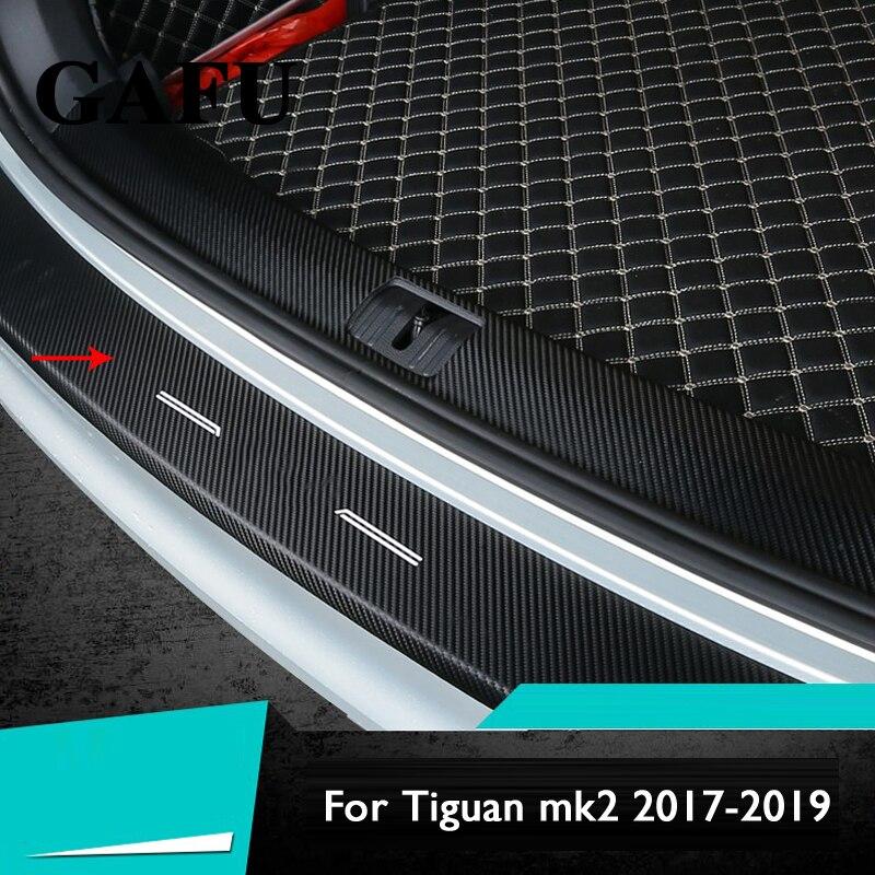 MK2 1 PCS Para VW TIGUAN 2017 2018 2019 Acessórios Do Carro De fibra de Carbono PU Interior Rear Bumper Protector Tampa Placa guarnição