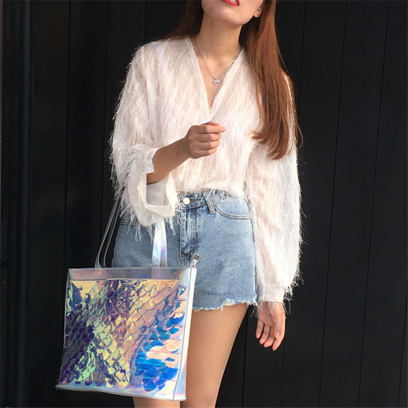 Lait ours nouveau style mode femmes laser PVC holographique totes sac à main été plage sac à bandoulière pour les filles grand voyage shopping