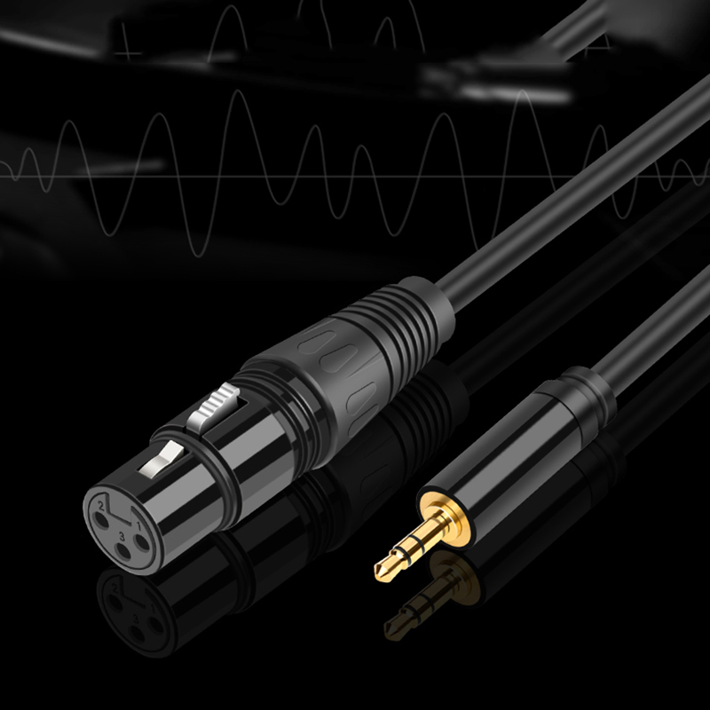 Jack 3.5 mm to XLR Cable Microphone Speaker Wire XLR Cannon Audio Cable XLR Extension Male to Male Stereo Cord TRS for Amplifier