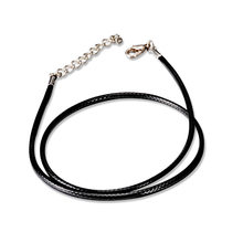 Simple 2.0mm Thin Line Fashion Pendant Necklace Chain Black Leather Wax Rope Cord Chain Necklace Jewelry DIY Accessories 45+5 cm(China)
