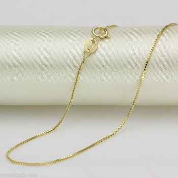 Onsale 39.9cm Slido 18k Oro Amarillo Collar 0.7mm Caja Cadena de Eslabones - DISCOUNT ITEM  0% OFF All Category