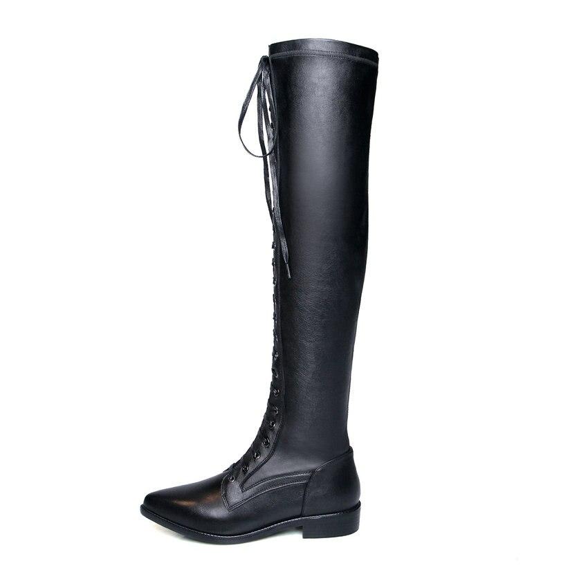 Bottes En D'hiver Stretch Éclair Le Femmes Nikove Pointu Sur Chaussures Carrés Talons Bout 42 Noir Longues Fermeture 34 Cuir Genou 2019 Tissu EtCqww7S
