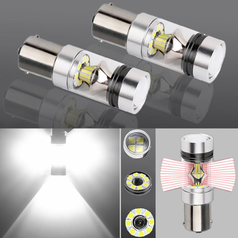 1156 BA15S P21W R5W 1200LM LED Bulb Car Fog Light Tail Driving Lamp DRL Day Runnight Reverse 100W 6000K White 3030 20SMD 12V-24V brand new 2pcs h7 100w led 20 smd projector fog tail driving car headlight lamp drl bulb