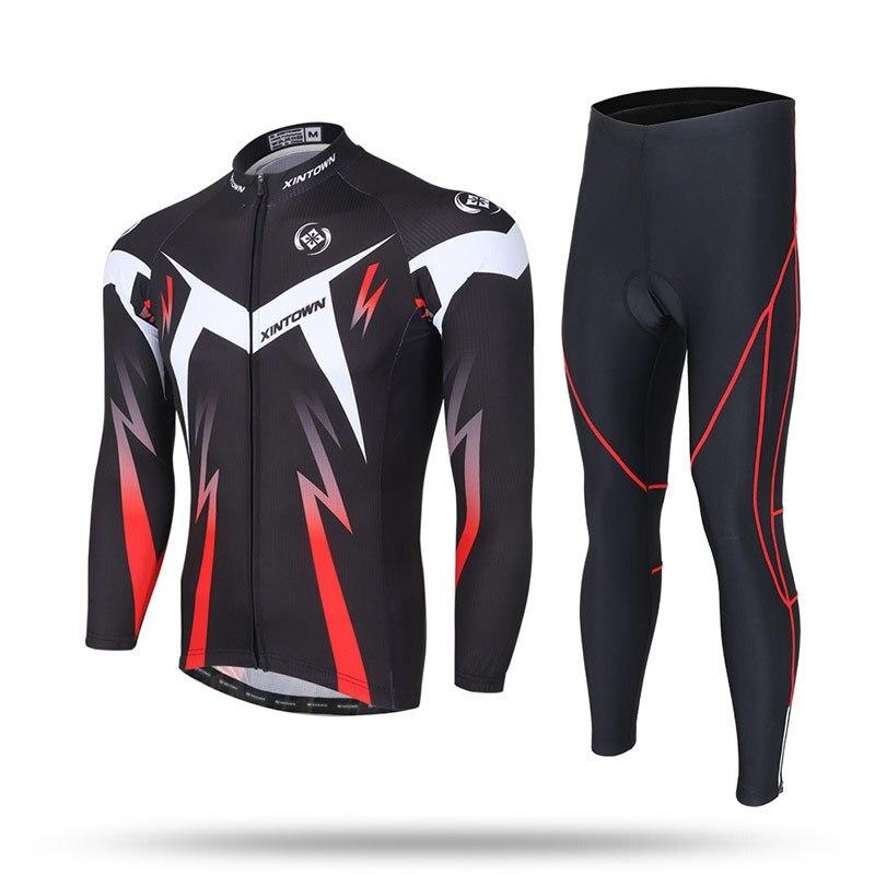 XINTOWN Spring Autumn Rainproof Windproof Breath Cycling Sets Jacket Long Sleeve Fleece Warm Bike Riding Coat Pants Set Men