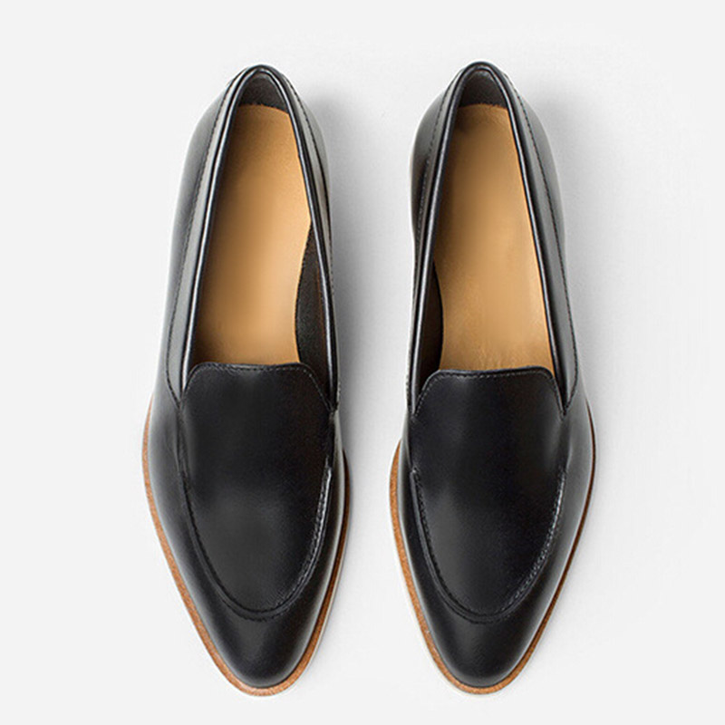 Top Quality Women Flats Genuine Leather Slip On Women Pointed Toe Loafers Brand Oxford Shoes For