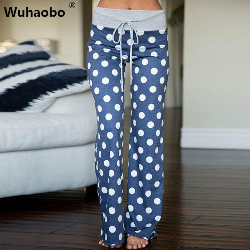 Wuhaobo S-3XL Women Big Dot   Wide     Leg     Pants   Plus Size Casual Loose Sweatpants Summer High Waist   Pants   Trousers Pantalon Femme