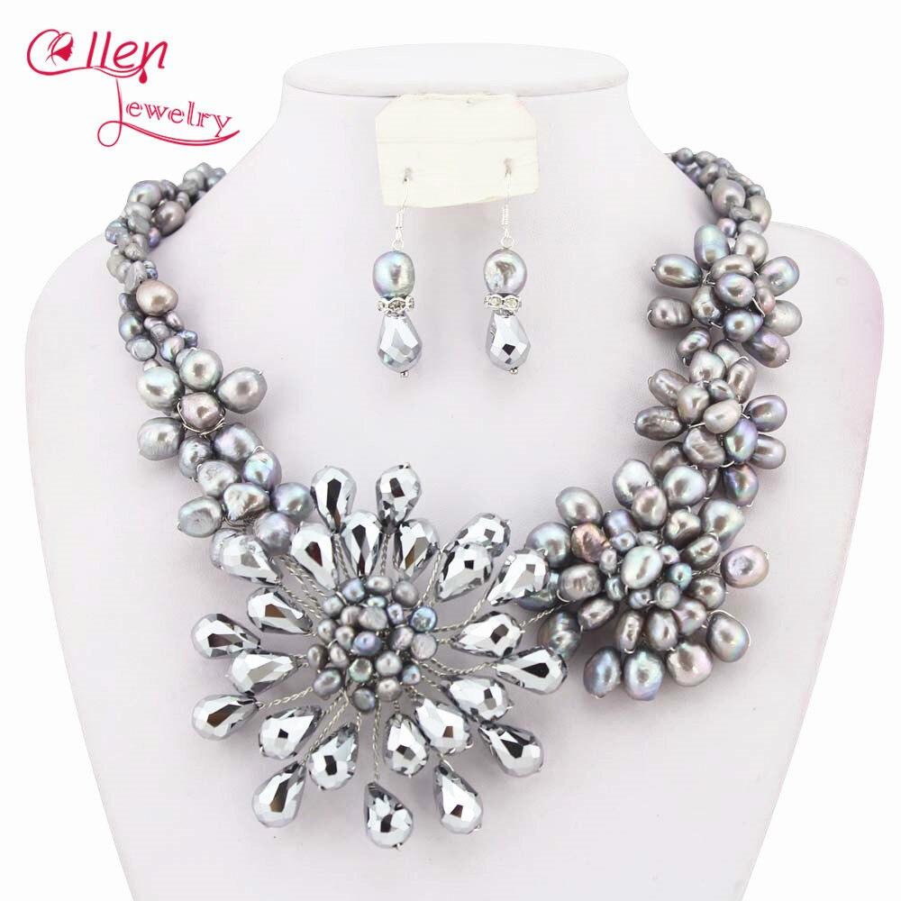 Mode collier de perles ensemble perles africaines Costume bijoux de mariée ensembles perle bijoux ensemble collier en cristal W6843 - 5