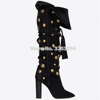 ALMUDENA Chunky Heels Gold Metal Button Knee Boots Black Suede Fringe Metal Decoration Studded Tall Boots Lace up Tassel Shoes