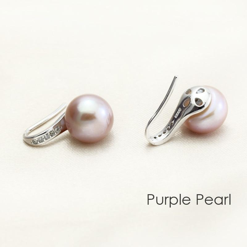 Real freshwater pearl earrings women,wedding natural pearl earring 925 sterling sliver trendy girl birthday best gift white E63