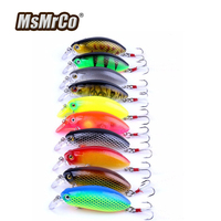 MSMRCO Top 10 Pcs Cank Trout Fishing Lures 3D Eyes Plastic Hard Artificial Bait Bionic Wobblers