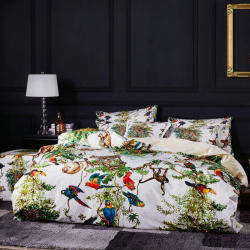 Famvotar Unique Luxury Bedding Set Tropical Jungle Wild Animals Pattern Embroidery Duvet Cover Bed Set Flat Bed Sheet King Queen
