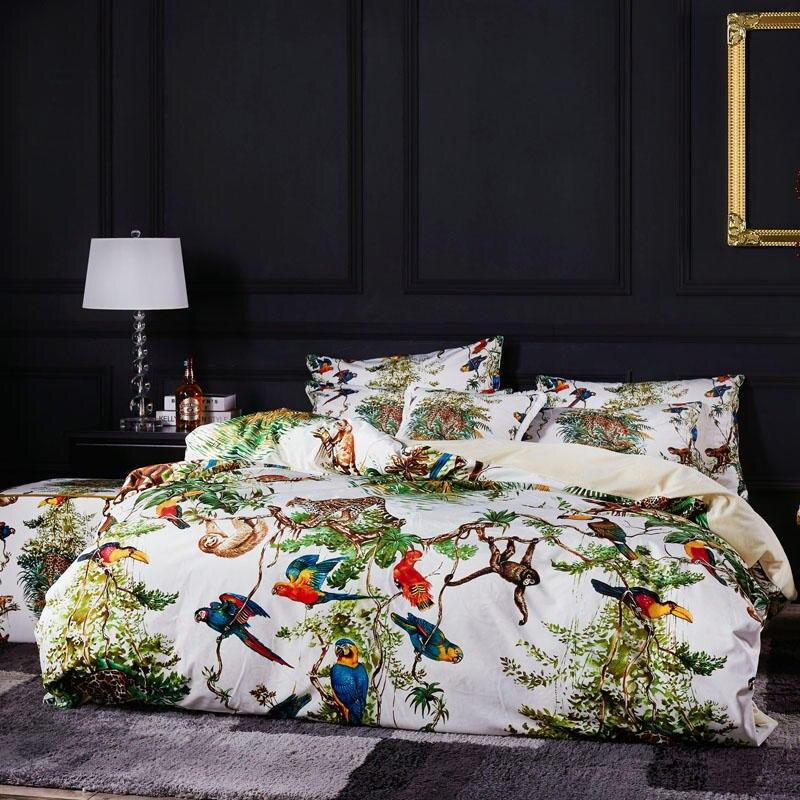 Famvotar ensemble de literie de luxe Unique motif Jungle tropicale animaux sauvages broderie housse de couette ensemble de lit drap plat roi reine