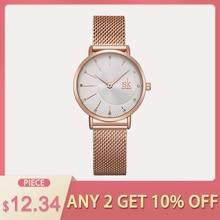 Shengke кварцевые часы для женщин сетки нержавеющая сталь Ремешок повседневное наручные Япония движение Баян коль Saati Reloj Mujer 2019