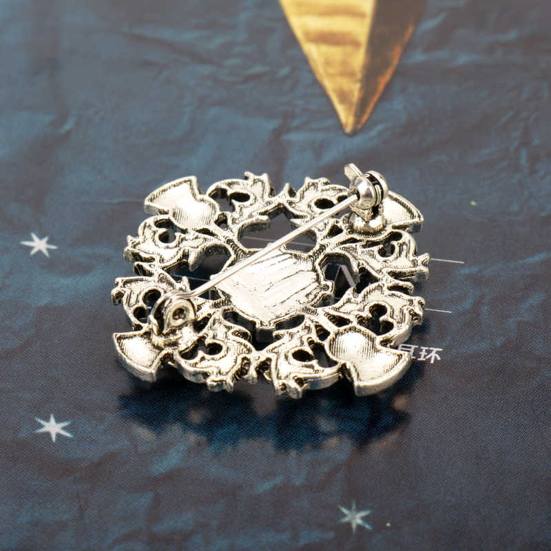 Thistle Skotlandia MQCHUN New Vintage Perak Bros Dengan Kristal Biru Bunga Lintas Lencana Pin Bros Untuk Wanita Perhiasan Outlander