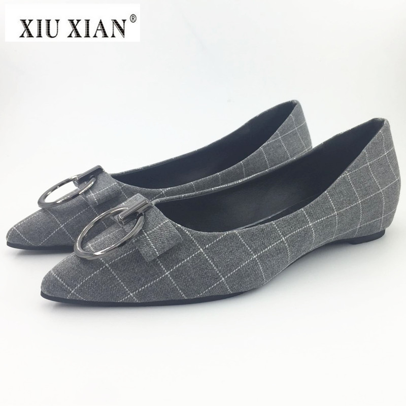 2018 Spring New Fashion Pointed Toe Women Flats Cotton Cloth Plaid Shallow Slip on Office Lady Boat Shoe Comfortable Casual Flat daitifen 2018 spring elegant mental buckle pointed toe ladies flat shoe fancy flock shoes women flats casual slip on women flats