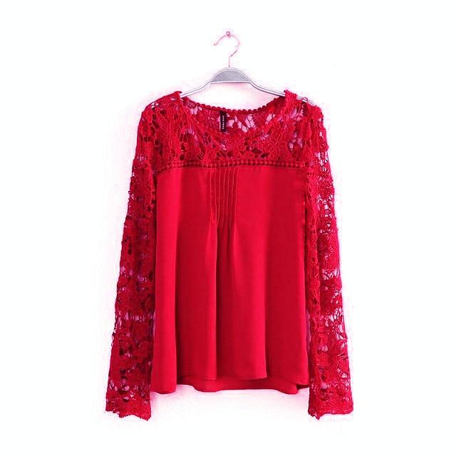 2015 New Pure Women Lace Long Sleeve Chiffon Blouses Fashion Autumn