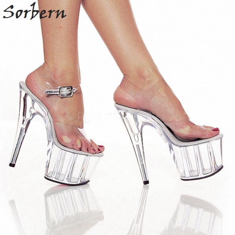 Sorbern Clear Plastic Women Sandals Transparent Pvc 15 Spike High Heels 5Cm Platforms Summer Sandals For Women Open Toe Heels ladylike women s sandals with transparent plastic and crystal design