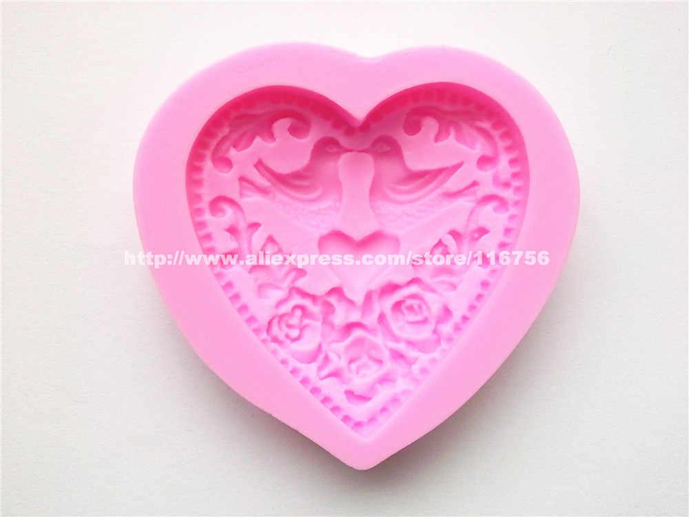 Nieuwe! Gratis verzending geluk vogel & hartvormige silicone mold cake decoratie fondant cake 3d food grade silicone mould 189