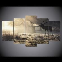 HD Gedruckt Winter hirsche Malerei auf leinwand raumdekoration druckplakat bild leinwand Freies verschiffen/ny-2598