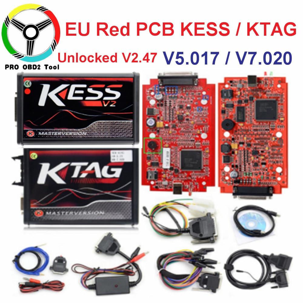 En ligne V2.47 Maître L'UE Rouge Kess V5.017 Kess V2 V2.23 Aucun Jeton Ktag V7.020 4 led OBD2 Gestionnaire Tuning Kit k-TAG 7.020 ECU Outils