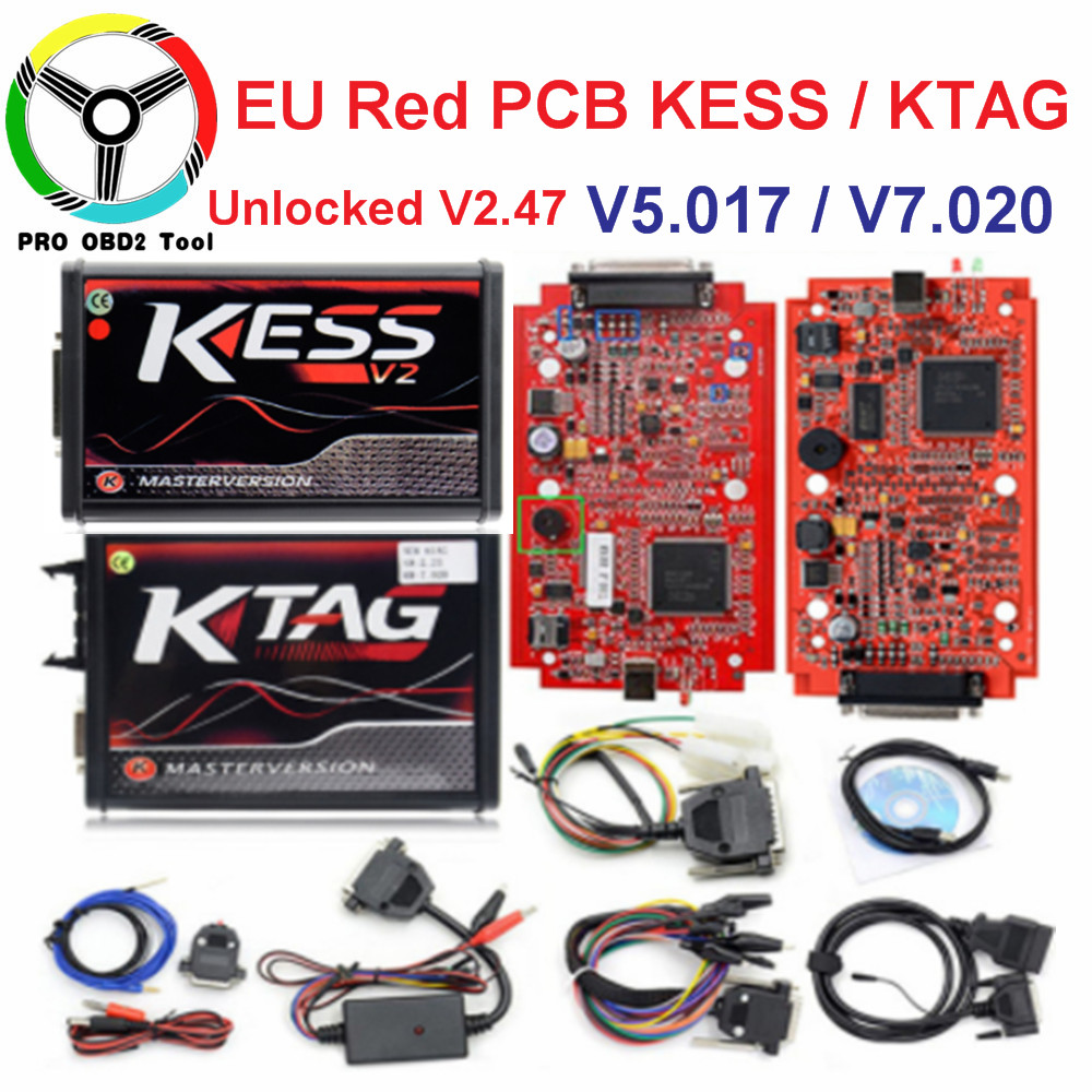 Online V2.47 Master EU Rot Kess V5.017 Kess V2 V2.23 Kein Token Ktag V7.020 4 LED OBD2 Manager Tuning Kit k-TAG 7,020 ECU Werkzeuge