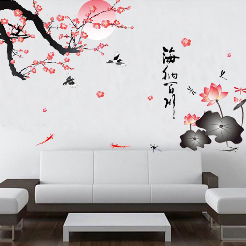 sakura flower birds wall stickers home decor living room