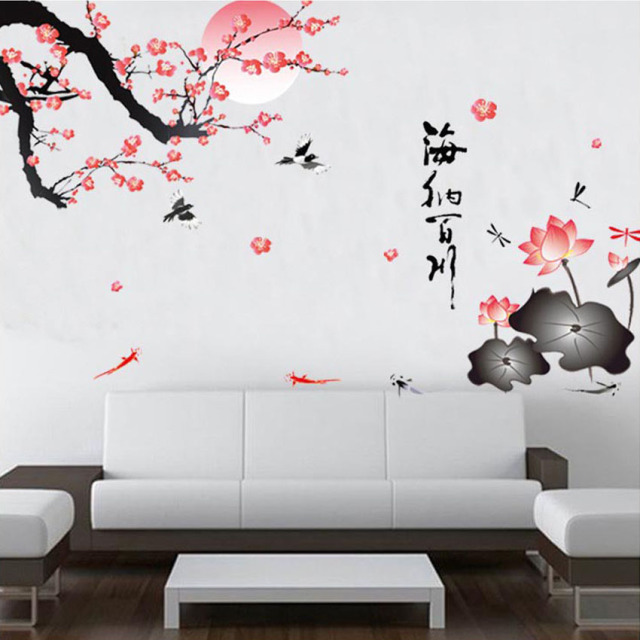 sakura flower birds wall stickers home decor living room diy rh aliexpress com wall sticker living room modern wall decor stickers living room