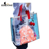 Summer PVC Transparent Swimming Storage Bag Letter Printing Clothing Collection Tote Handbags Women Sports Beach Bags