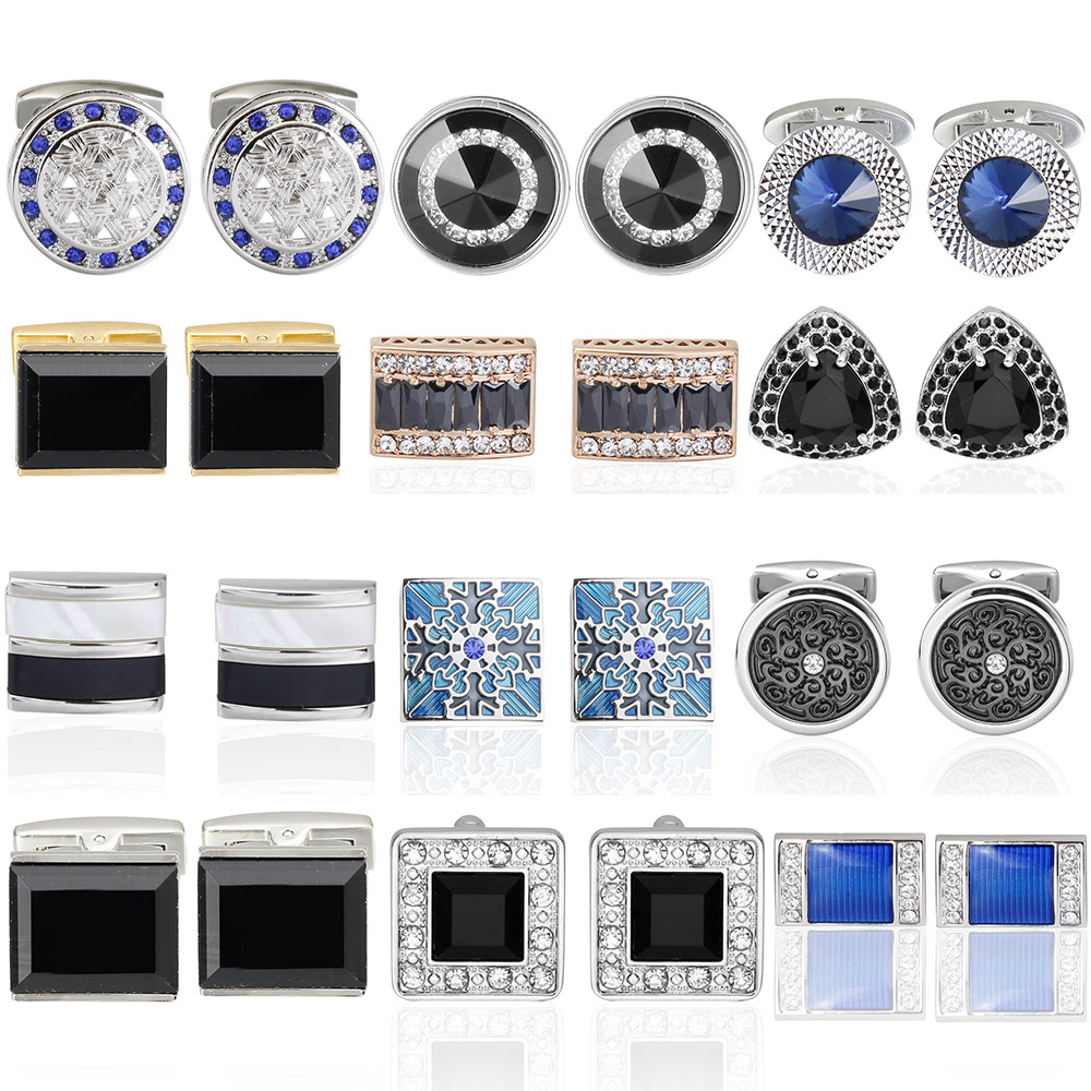 Luxury Crystal Shirt Cufflinks For Mens Brand Cuff Button De Manchette Colorful Cuff Links High Quality Abotoaduras Jewelry