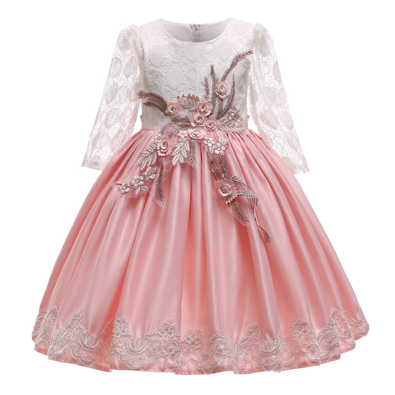 New Flower Girl's Wedding Party Princess Long Sleeve Embroidery Dress Girl's Birthday First Feast Banquet Dress Vestido